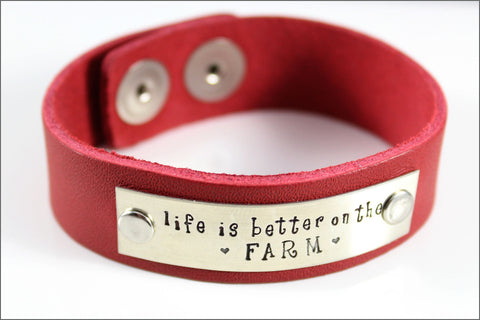 Custom Leather Bracelet Made with Your Choice of Names, Dates, & Words | Life is Better on the Farm
