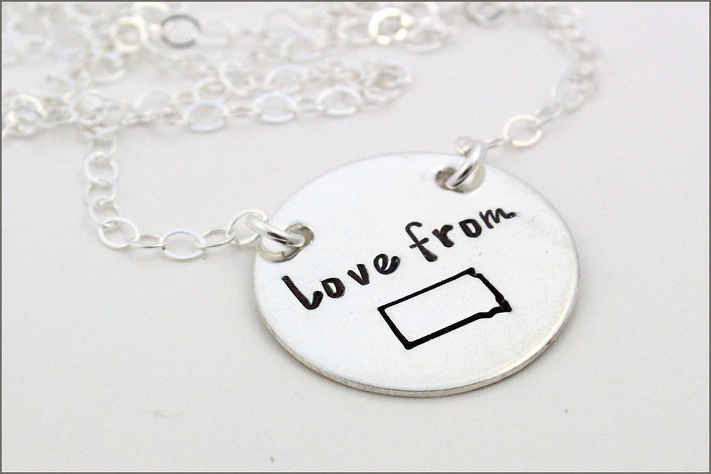 silver personalised necklace letter original hand floral charm libby stamped