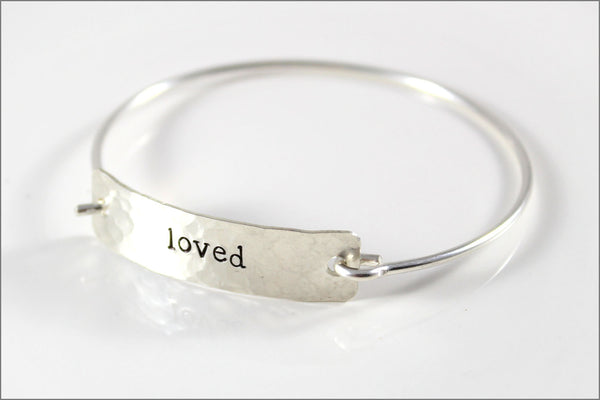 Custom Word Inspiration Bracelet | Sterling Silver Word Bracelet, One Word Silver Cuff Bracelet, Small Gifts for Her
