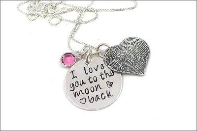 Custom Thumbprint Heart Necklace | I Love You to the Moon & Back Charm, Thumb Print Jewelry, Personalized Finger Print Jewelry