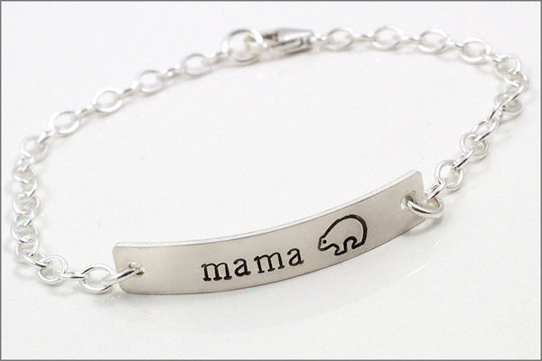 Mama Bear Silver Bar Bracelet | Sterling Silver Bracelet, Silver Mom Bracelet, Gift for Mom, Mother's Day Gift