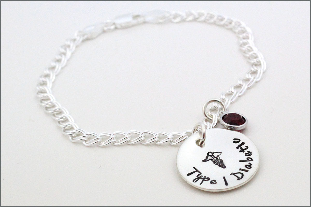 Diabetes Alert Bracelet | Medical Alert Charm Bracelet, Sterling Silver Diabetes Bracelet, Fashionable Medical Jewelry