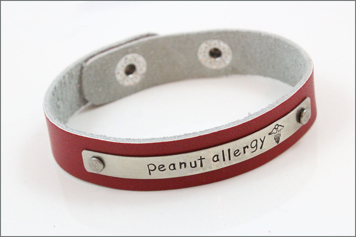 Custom Medical Alert Bracelet | Leather Medical Alert Bracelet, Custom Allergy Bracelet, Peanut Allergy Bracelet