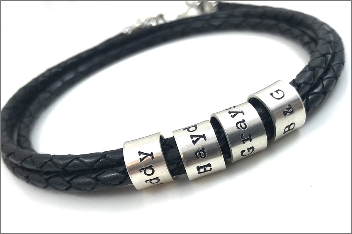 Braided Leather Cord Personalized Bracelet | Custom Name Beads Bracelet