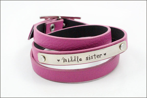 Custom Little Girls Leather Bracelet | Gift for Young Girl