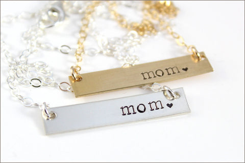 Gold Bar or Silver Bar Mom Necklace | Horizontal Gold or Sterling Silver Tag on Fine Cable Chain