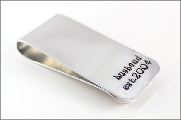 Personalized Money Clip for Dad Grandpa Husband with Established Date | Aluminum Hand Made Custom Accessories