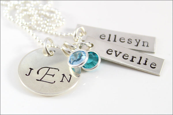 Custom Silver Family Necklace | Sterling Silver Tag Necklace, Initials Necklace, Mom Birthstone Jewelry, Gift for Women