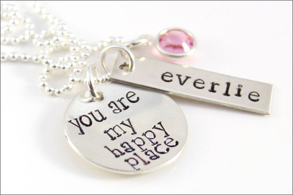 Custom Silver Mom Necklace | You are My Happy Place. Sterling Silver Name Necklace, Personalized Jewelry for Her, Special Gift for New Mom