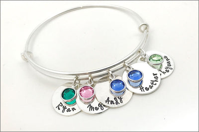 Personalized Sterling Silver Bangle Bracelet | Name Charm Bracelet with Birthstones