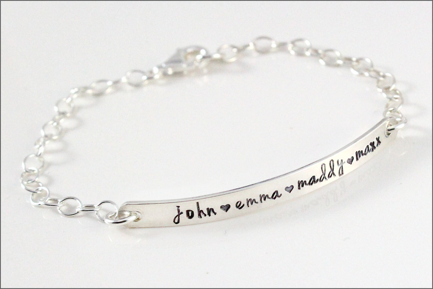 Custom Name Silver Bar Bracelet | Personalized Mom Bracelet, Sterling Silver Bracelet, Mommy Bracelet, Name Bracelet