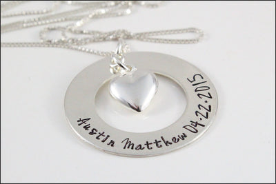 Sterling Silver Washer Name & Birth Date Necklace with Heart Charm