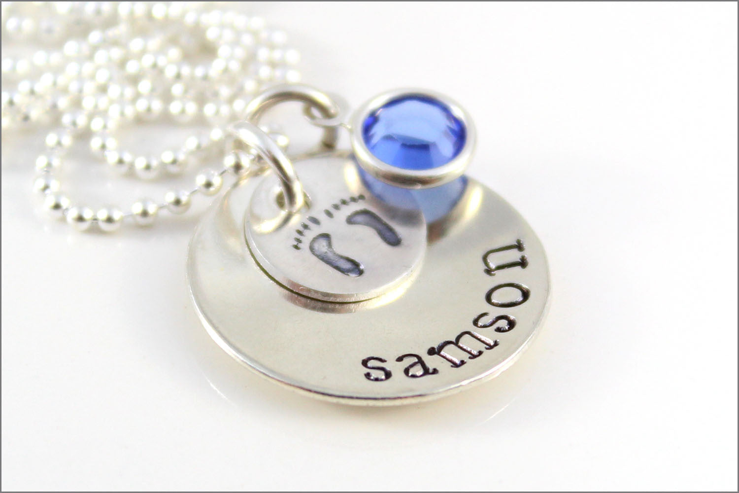 Personalized Name Necklace with Baby Feet & Birthstone