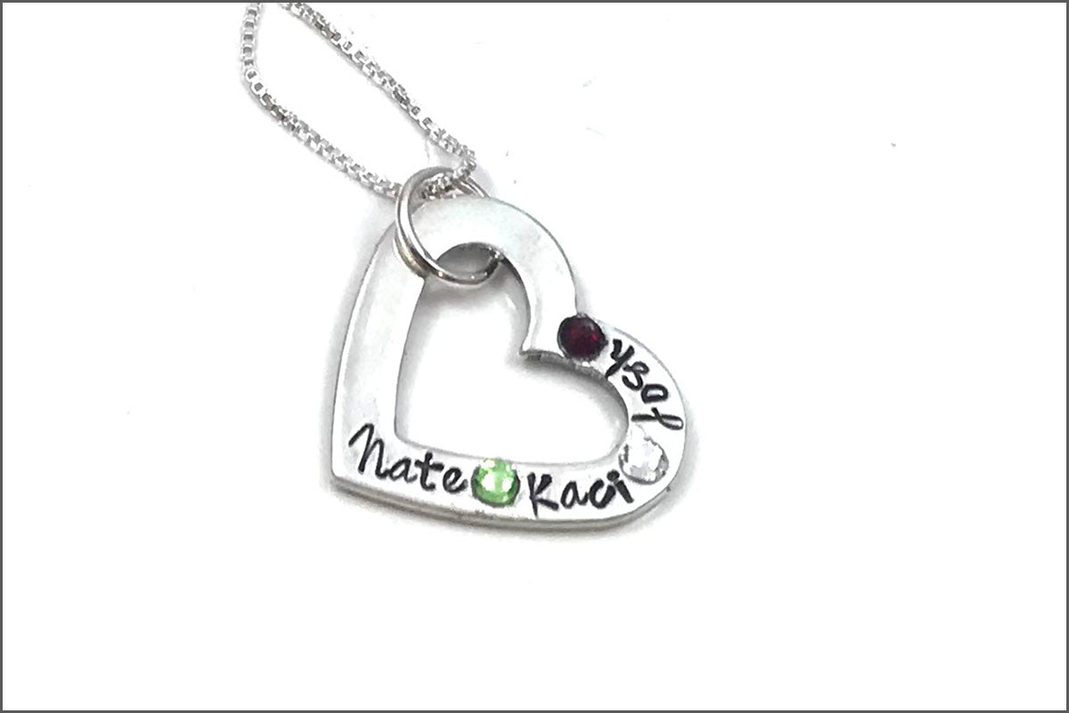 Open Heart Name & Birthstone Necklace