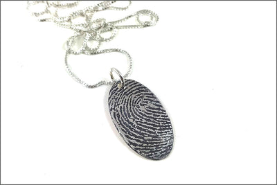 Custom Fingerprint or Thumbprint Oval Necklace