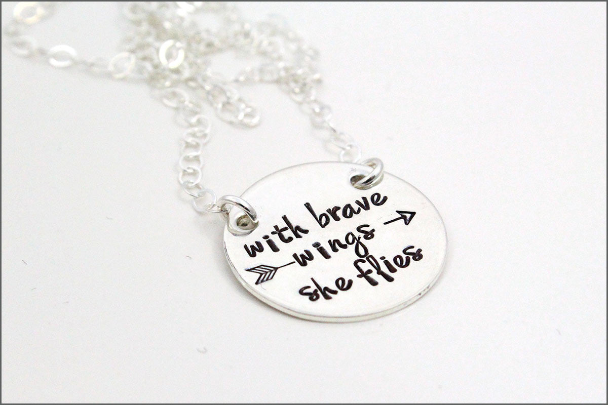 Sterling Silver Inspirational Necklace | With Brave Wings She Flies
