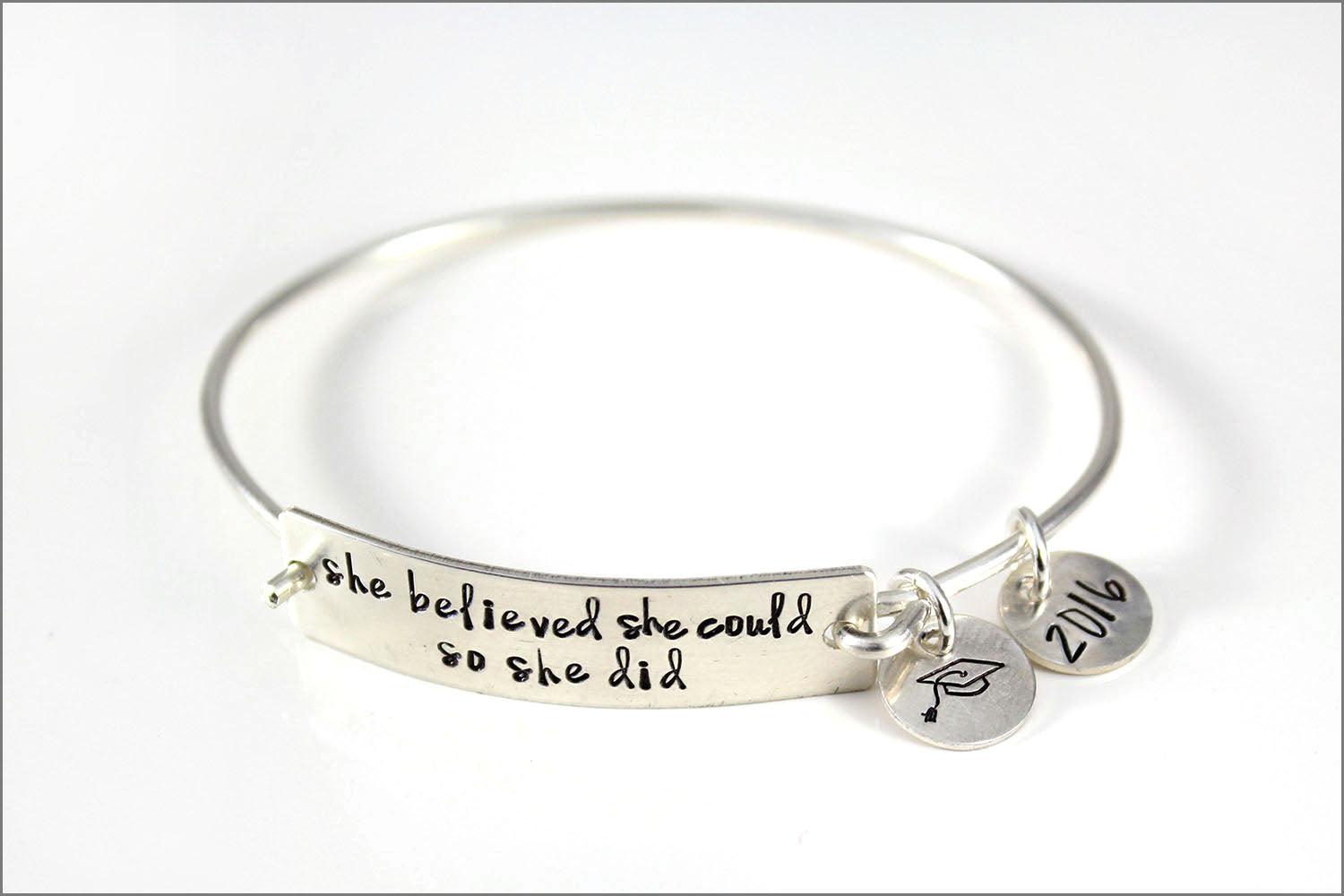 Custom Graduation Cuff Bracelet | She Believed She Could So She Did
