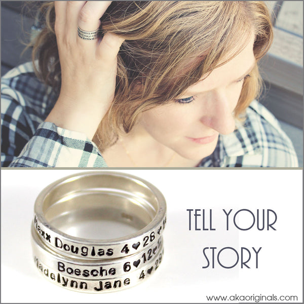 Personalized Sterling Silver Stacked Skinny Ring | Customize Ring with Names, Dates, Quotes