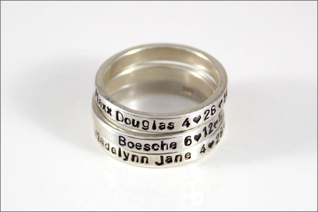 Personalized Sterling Silver Stacked Skinny Ring | Customize Ring ...