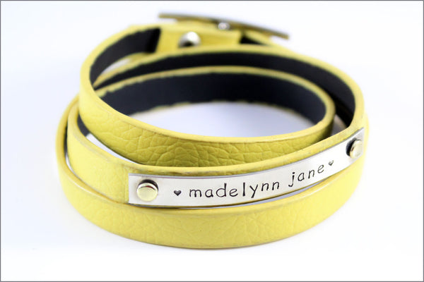 Personalized Leather Bracelet | Customized Wrap Bracelet, Custom Name Bracelet, Choose Your Color