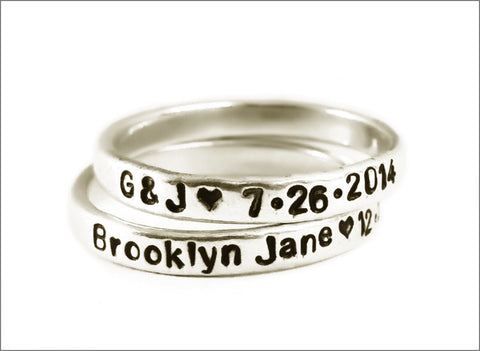 Hand Crafted Stacked Sterling Silver Skinny Ring | Customize this Ring with Your Names, Dates, & Quotes