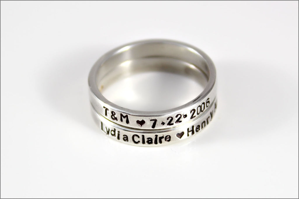 custom hand made stackable ring silver rings stackable rings rings with names dates ring custom name ring skinny ring