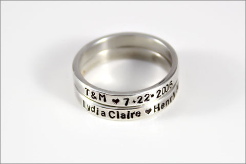 Personalized Stacked Skinny Ring in Sterling Silver | Customize Ring with Your Names, Dates, or Initials