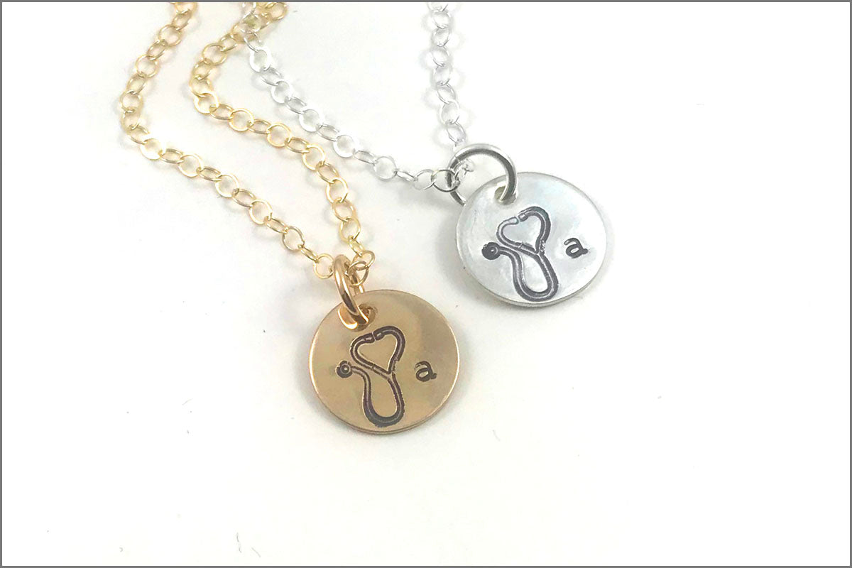 Nurse Stethoscope Necklace with Custom Initial | Gold Filled, Rose Gold, Sterling Silver