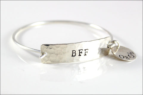 Custom Word Inspiration Bracelet in Sterling Silver with Date Charm | One Word Silver Cuff Bracelet & Custom Date