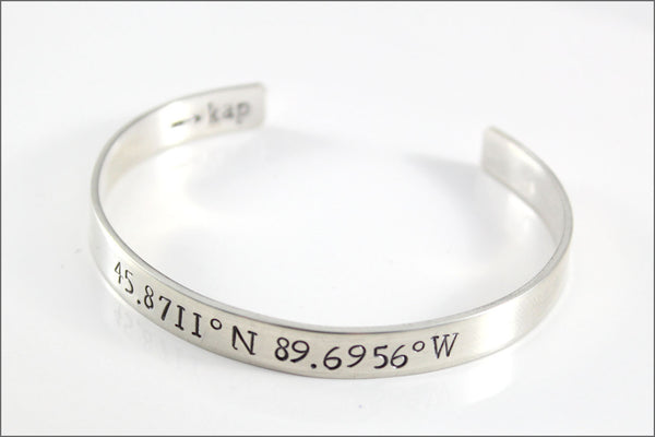 Custom Coordinates Bracelet Latitude & Longitude or Your Custom Information | Personalized Sterling Silver Cuff Bracelet