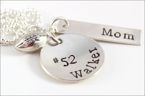 Personalized Football Mom Necklace with Name & Jersey Number | Sterling Silver Hand Stamped Sports Mom Jewelry
