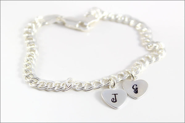 Two Heart Initial Sterling Silver Charm Bracelet