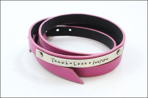 Teacher or Educator Gift | Love Teach Inspire Leather Wrap Bracelet, Inspiration Jewelry, Unique Gifts for Teacher