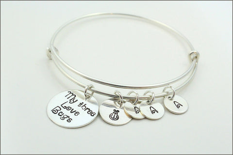 Personalized Bangle Bracelet | Sterling Silver Charm Bracelet, My Three Love Bugs, Sterling Silver Initial Charms, Custom Mom Bracelet