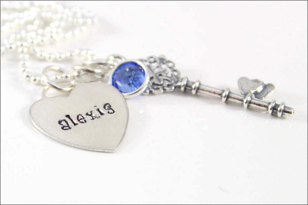 Personalized mommy necklace tiffany heart name pendant silver personalized mommy necklace tiffany heart name pendant silver fancy key charm your choice of birthstone sterling silver jewelry aloadofball Choice Image