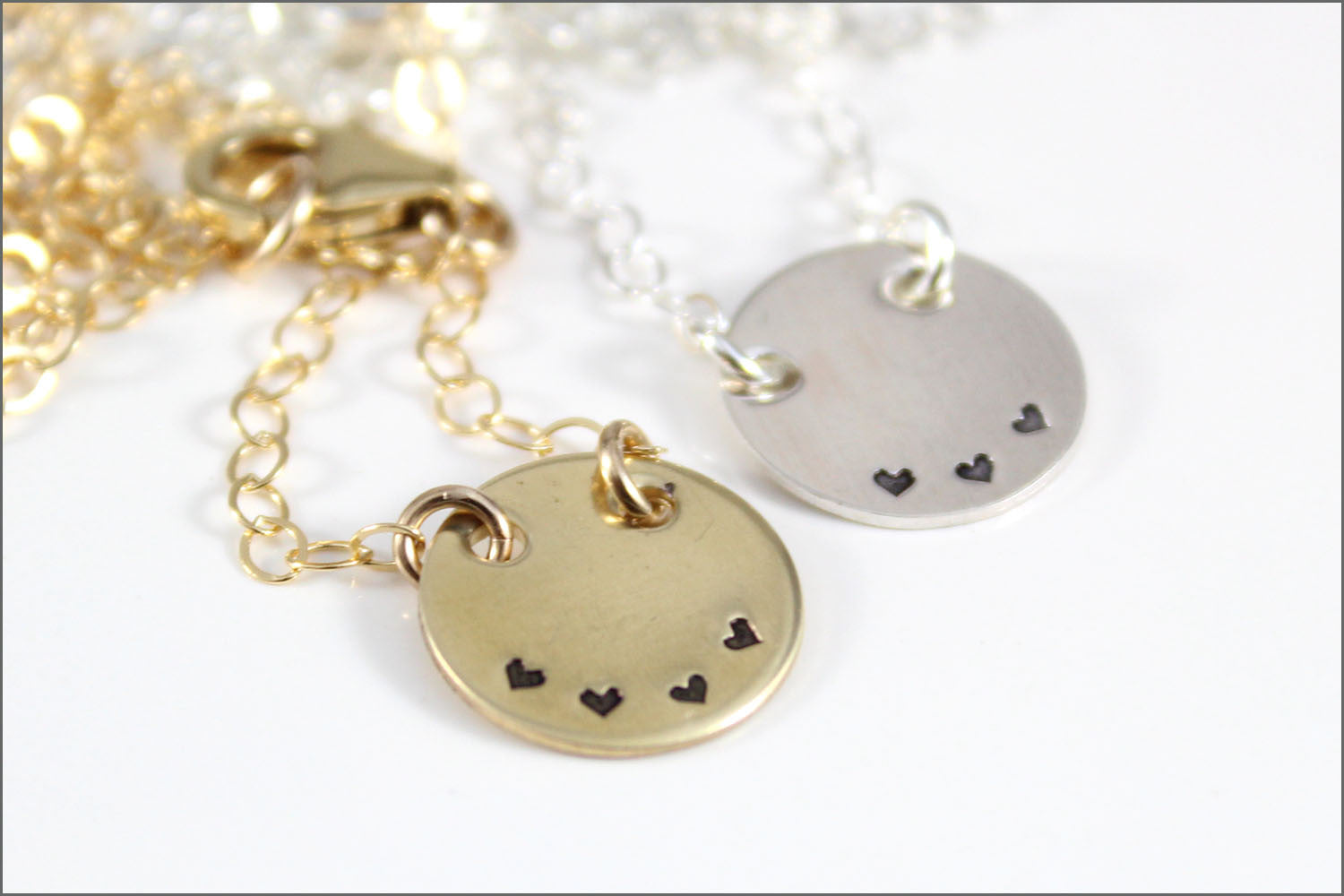 Family Disc Necklace with Tiny Hearts | Gold Filled, Rose Gold, Sterling Silver
