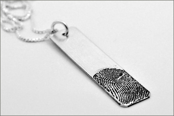 Fingerprint Bar Necklace | Sterling Silver Fingerprint Necklace, Thumb Print Necklace, Remembrance Necklace