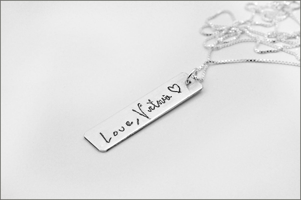 Handwriting Bar Necklace | Sterling Silver Handwriting Necklace, Handwriting Jewelry, Remembrance Necklace