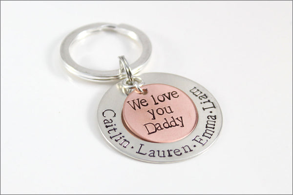 Metal Keychain for Dad | Personalized Dad Keychain, We Love You Dad Keychain, Custom Father's Day Gift