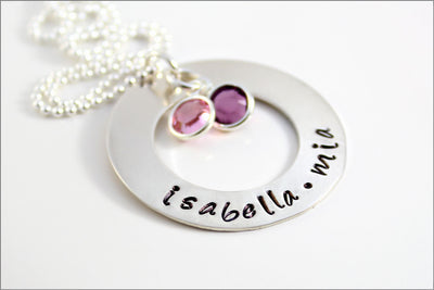 Personalized Mom Necklace | Custom Gifts for Her, Silver Birthstone Necklace, Hand Stamped Mother's Necklace, Gifts for Mom | Mother's Day Gift