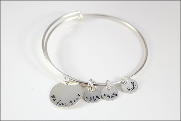 Personalized Bangle Bracelet | We Love You, Sterling Silver Charm Bracelet, Gift Ideas for Mom, Custom Grandma Bracelet