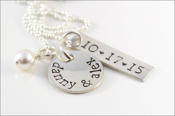 Personalized Wedding Necklace with Couples Name and Wedding Date | Personalized Couples Necklace Gift for Bride