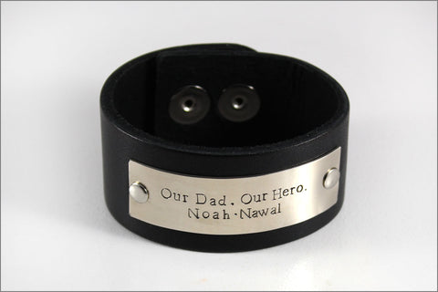 Our Dad, Our Hero Custom Leather Bracelet for Dad | Add Your Choice of Up to Four Names