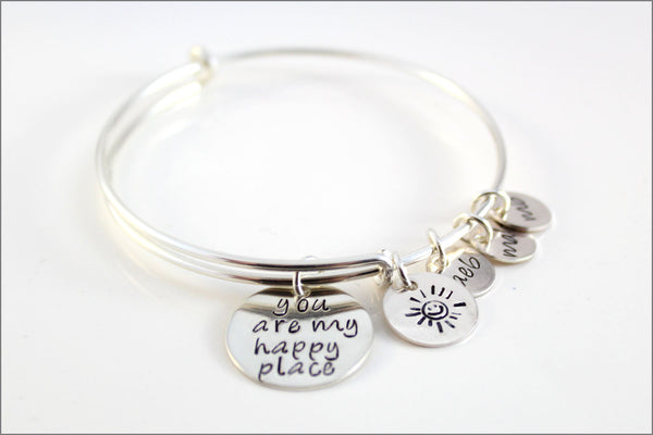 Personalized Bangle Bracelet | Sterling Silver Charm Bracelet, You are My Happy Place, Initial Charm Bracelet, Gifts for Mom