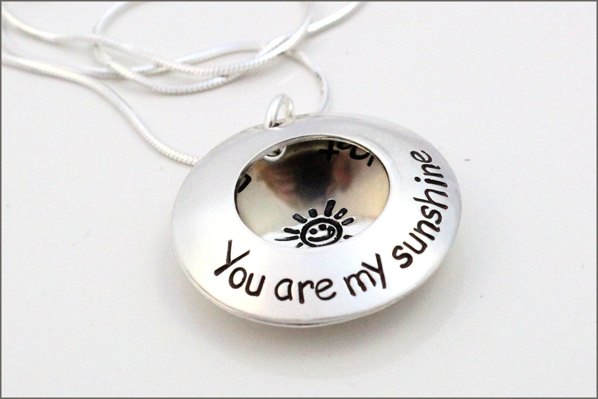 Custom Silver Locket | You are My Sunshine Necklace, Personalized Mother Necklace, Children's Name Necklace, Special Gift for Mom