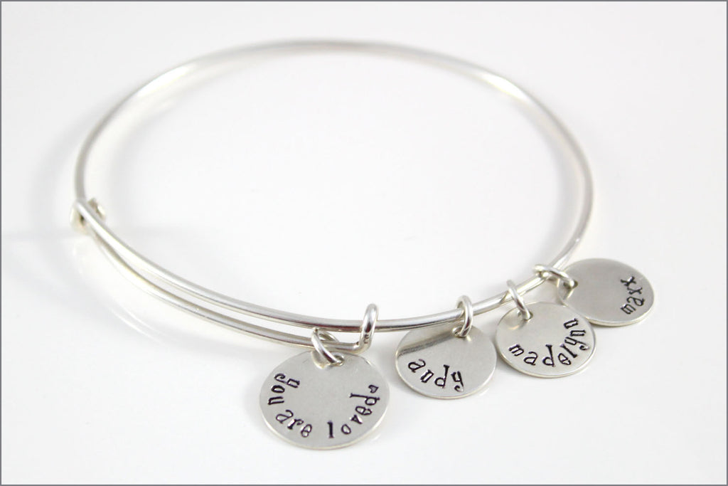silver bangles sterling com bracelet bangle name monogram personalized quot dp bracelets amazon