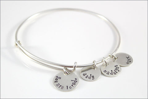 Personalized Bangle Bracelet | You are Loved, Sterling Silver Charm Bracelet, Hand Stamped Mom Bracelet, Custom Grandma Bracelet