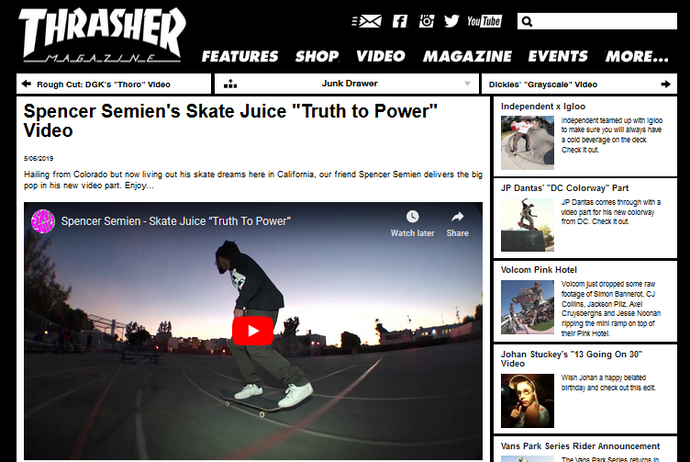 "Spencer Semien's Skate Juice ""Truth to Power"" Video on Thrasher"