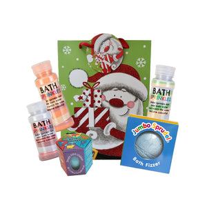 Sprinkles and Sprudels!  3 x Rainbow Bath Sprinkles, JUMBO and Single Sprudel in a CHRISTMAS GIFT BAG!