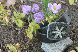 embellished belt buckle, flower, leather belt